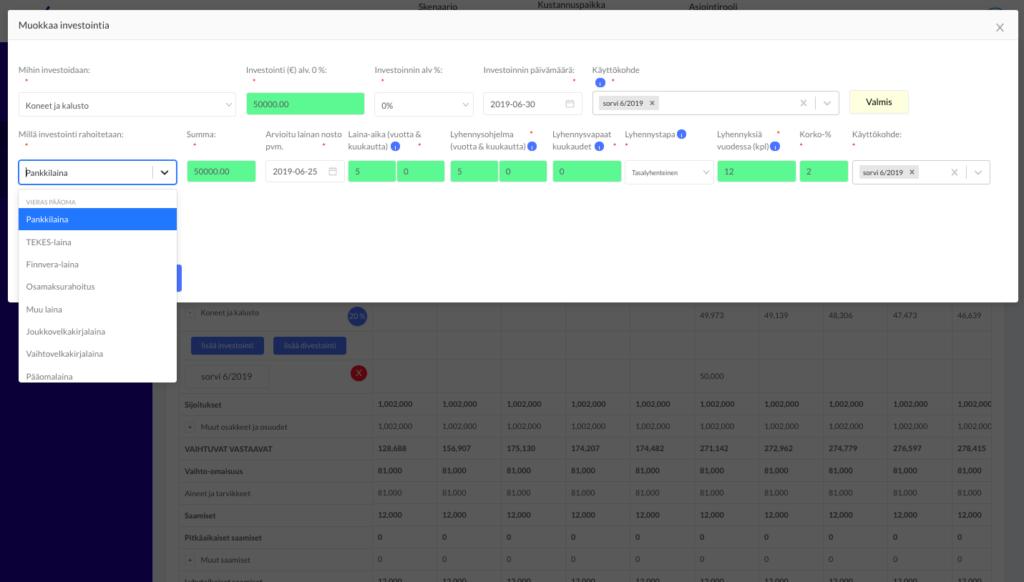 investointien suunnittelu - rahoittajan dashboard