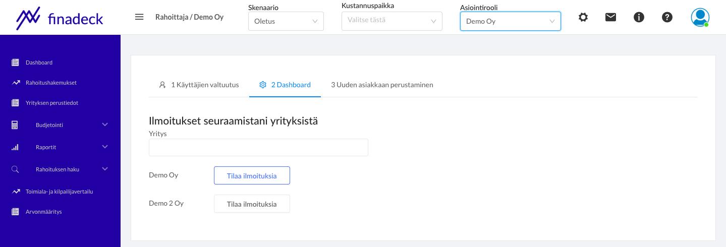 Notifikaatiot - Rahoittajan Dashboard