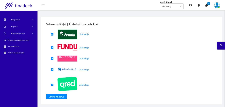 Rahoituksen haku-osio