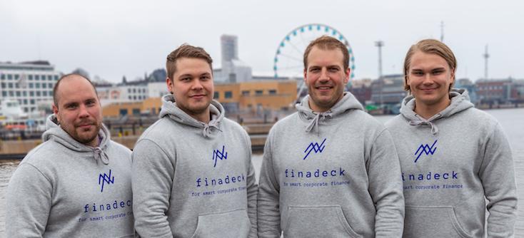 Finadeckin perustajat (vasemmalta oikealle Jari Kemi, Olli Tiihonen, Saku Pöllänen ja Mika Järvinen). Finadeck tuottaa älykästä uuden sukupolven pilvipohjaista talousjohtamisen ohjelmistoa.